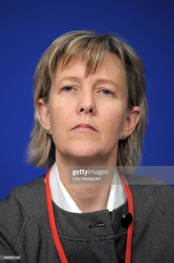Portuguese Finance Minister, Maria Luis Albuquerque, attends a symposium Les Entretiens du Tresor at the Economy Ministry in Paris on January 23, 2015.