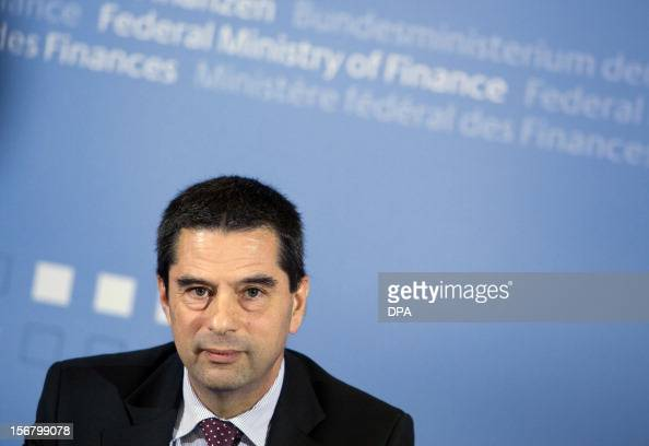 Portuguese Finance Minister Vitor Gaspar addresses a press conference with his German counterpart in Berlin on November 21 2012 German Finance...