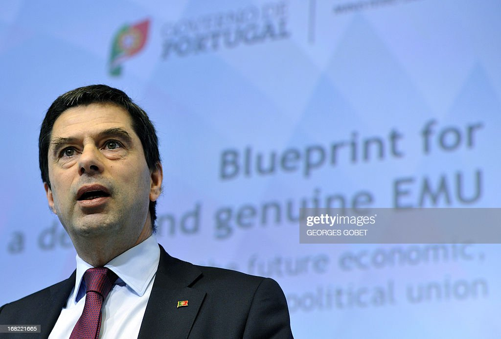 Portuguese finance minister Vitor Gaspar participates in the opening of 'the blueprint for a deep and genuine EMU and debating the future economic...