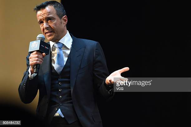 Portuguese football agent Jorge Mendes attends Gestifute and FOYO strategic partnership press conference at ShangriLa Hotel on January 18 2016 in...