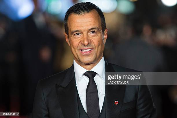 Portuguese football agent Jorge Mendes poses on arrival for the world premiere of the film Ronaldo in central London on November 9 2015 TAYLOR