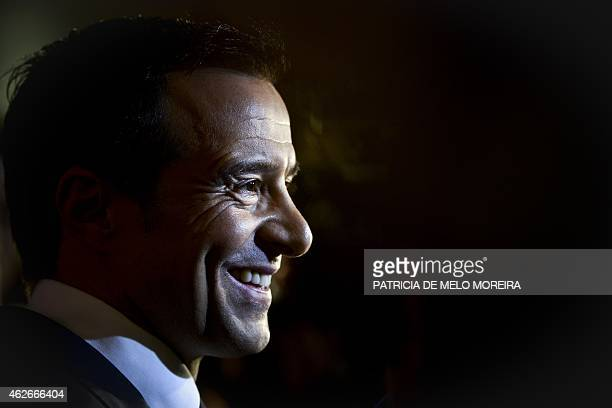 Portuguese football manager Jorge Mendes stands in front of the press during the release of the book 'The Special Agent' written by Miguel Cuesta and...