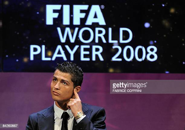 Portuguese football player Cristiano Ronaldo gestures prior to receive the FIFA world Footballer of the Year 2008 award on January 12 2009 in Zurich...