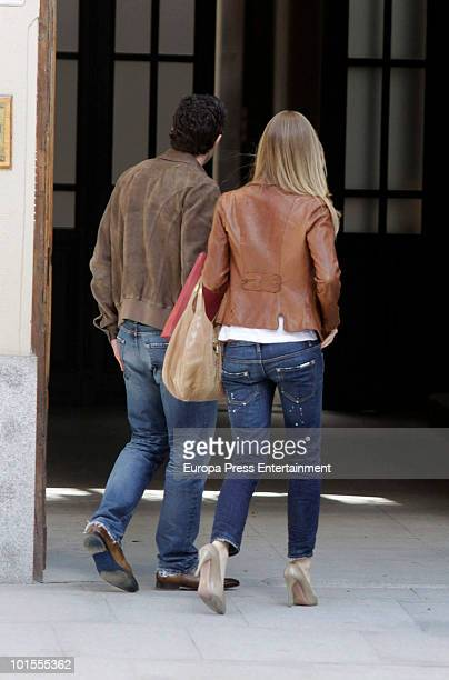 Portuguese football player Luis Figo and his wife top model Helen Swedin are seen sighting on June 2 2010 in Madrid Spain