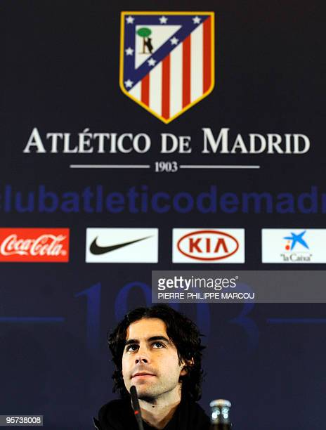 Portuguese football player Tiago Mendes attends a news conference during his presentation as new player of Atletico de Madrid at Vicente Calderon...