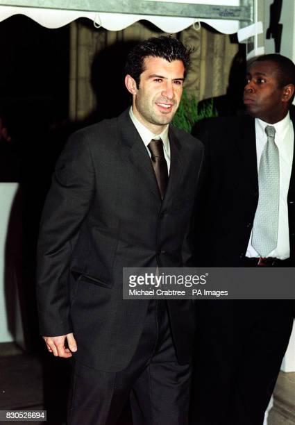 Portuguese footballer Luis Figo arrives at the World Sports Awards 2000 at London's Royal Albert Hall