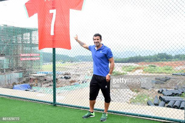 Portuguese former footballer Luis Figo attends a commercial event at Duyun on August 11 2017 in Qiannan Bouyei and Miao Prefecture Guizhou Province...