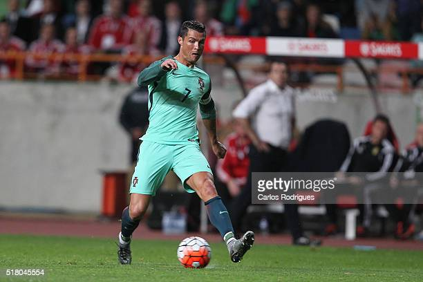 Portuguese forward Cristiano Ronaldo during the match between Portugal and Belgium Friendly International at Estadio Municipal de Leiria on March 29...