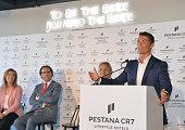 Portuguese forward Cristiano Ronaldo speaks during the opening of Pestana CR7 Hotel in Funchal on Madeira island on July 22 2016 Cristiano Ronaldo...