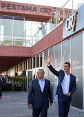 Portuguese forward Cristiano Ronaldo waves beside the owner and chairman of Pestana Hotel Group Dionisio Pestana during the opening of the Pestana...
