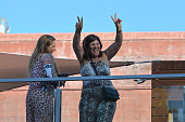Portuguese forward Cristiano Ronaldo's mother Dolores Aveiro gestures from a balcony after the opening of the Pestana CR7 Hotel in Funchal on Madeira...
