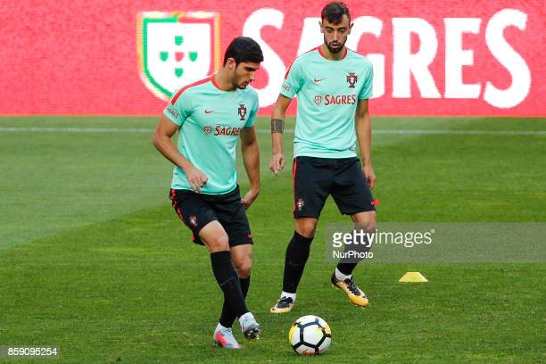 Portuguese forward Goncalo Guedes and Bruno Fernandes during National Team Training session before the match between Portugal and Switzerland at Luz...