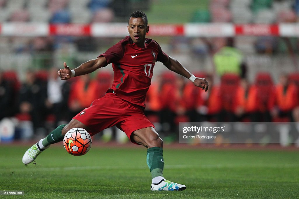 Portuguese forward <a gi-track='captionPersonalityLinkClicked' href=/galleries/search?phrase=Nani+-+Soccer+Player&family=editorial&specificpeople=11510994 ng-click='$event.stopPropagation()'>Nani</a> during the match between Portugal and Bulgaria Friendly International at Estadio Municipal de Leiria on March 25, 2016 in Lisbon, Portugal.