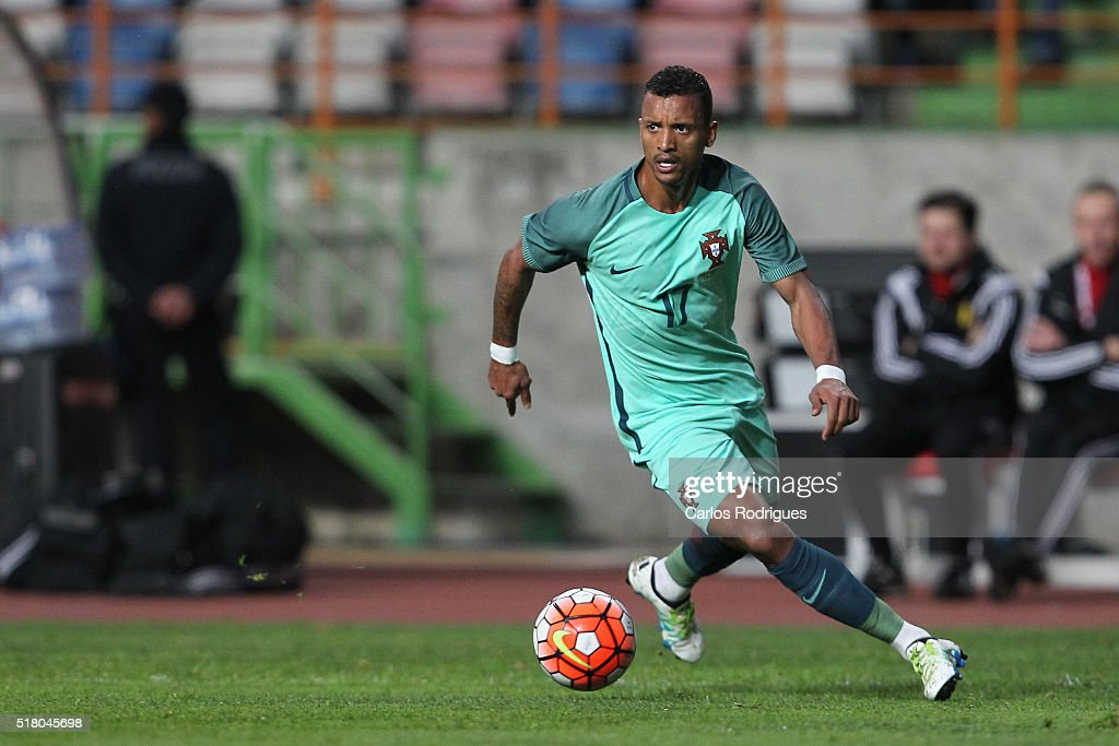 Portuguese forward <a gi-track='captionPersonalityLinkClicked' href=/galleries/search?phrase=Nani+-+Soccer+Player&family=editorial&specificpeople=11510994 ng-click='$event.stopPropagation()'>Nani</a> during the match between Portugal and Belgium Friendly International at Estadio Municipal de Leiria on March 29, 2016 in Lisbon, Portugal.