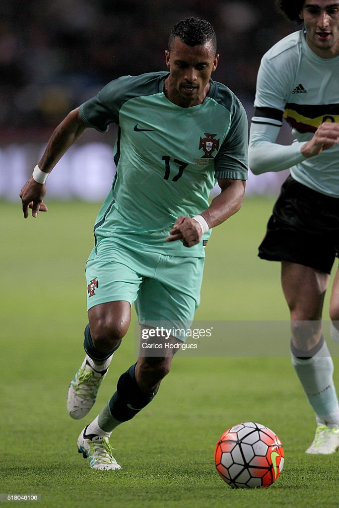 Portuguese forward <a gi-track='captionPersonalityLinkClicked' href=/galleries/search?phrase=Nani+-+Jugador+de+f%C3%BAtbol&family=editorial&specificpeople=11510994 ng-click='$event.stopPropagation()'>Nani</a> during the match between Portugal and Belgium Friendly International at Estadio Municipal de Leiria on March 29, 2016 in Lisbon, Portugal.