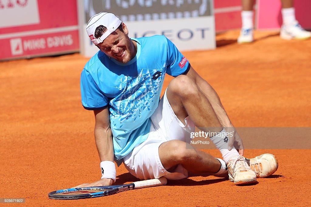 Portuguese Joao Sousa got injured during his match against Spanish Nicolas Almagro during the Millennium Estoril Open ATP 250 tennis tournament at the Clube de Tenis do Estoril in Portugal on April 27, 2016.