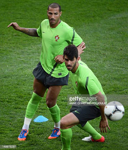 Portuguese midfielder Ricardo Quaresma and Portuguese forward Nelson Oliveira attend a training session on June 8 2012 at the Arena stadium in Lviv...