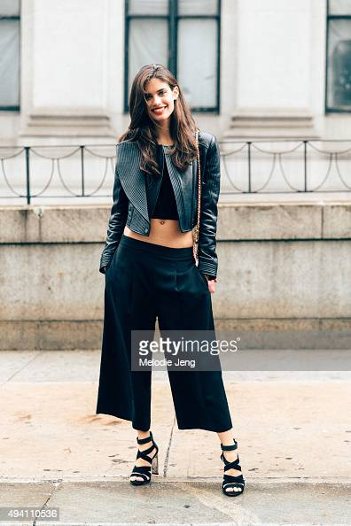 Portuguese model Sara Sampaio after the BCBG show at Skylight at Moynihan Station on September 10 2015 in New York City Sara wears a multilayered...