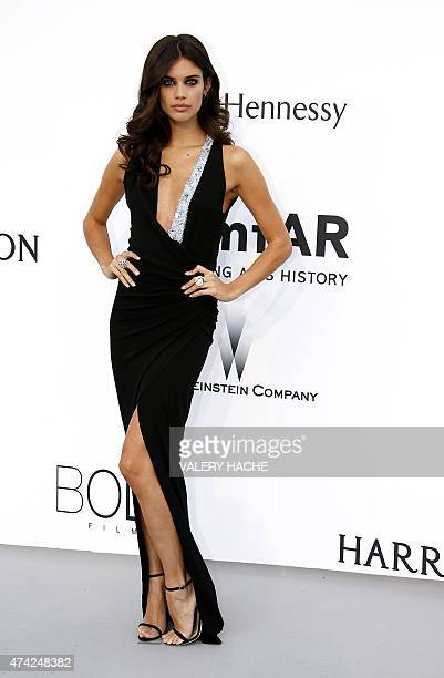 Portuguese model Sara Sampaio poses as she arrives for the amfAR 22st Annual Cinema Against AIDS during the 68th Cannes Film Festival at Hotel du...