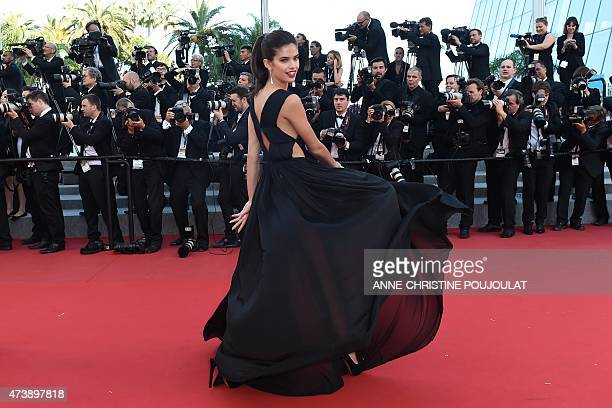 Portuguese model Sara Sampaio poses as she arrives for the screening of the film 'Inside Out' at the 68th Cannes Film Festival in Cannes southeastern...