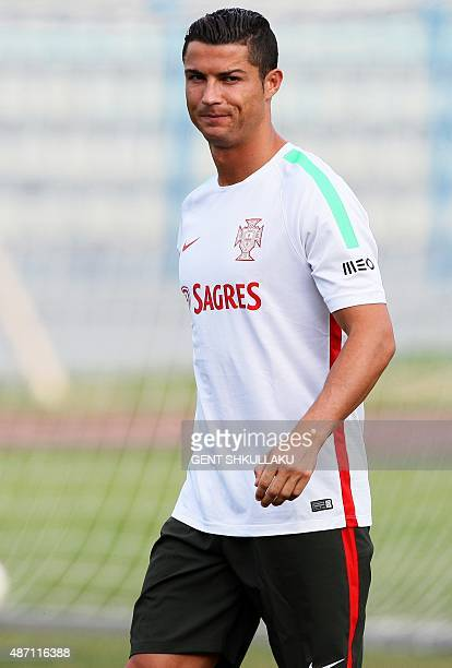 Portuguese national team forward Cristiano Ronaldo takes part in a training session at Qemal Stafa stadium in Tirana on September 6 on the eve the...