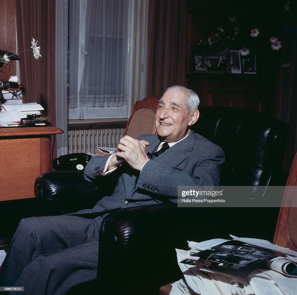 Portuguese politician and Prime Minister of Portugal, Antonio de Oliveira Salazar (1889-1970) pictured sitting in a leather armchair in an office in 1968.