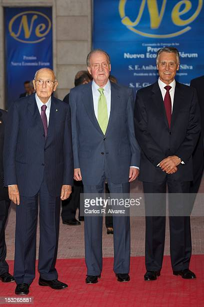 Portuguese President Anibal Cavaco Silva Italian President Giorgio Napolitano and King Juan Carlos of Spain attend the 'Nueva Economia 2011 and 2012'...