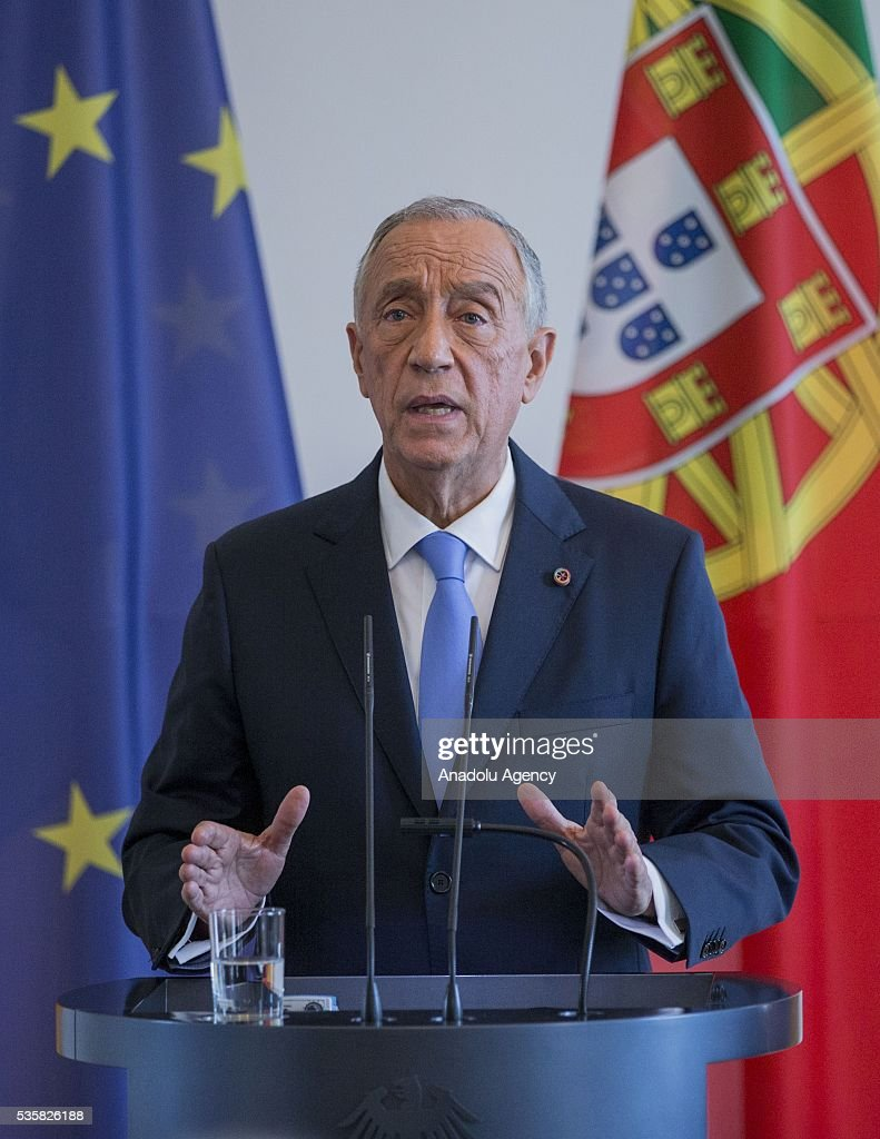 Portuguese President Marcelo Rebelo de Sousa and German President Joachim Gauck (not seen) hold a press conference at the Schloss Bellevue Palace in Berlin, Germany on May 30, 2016.