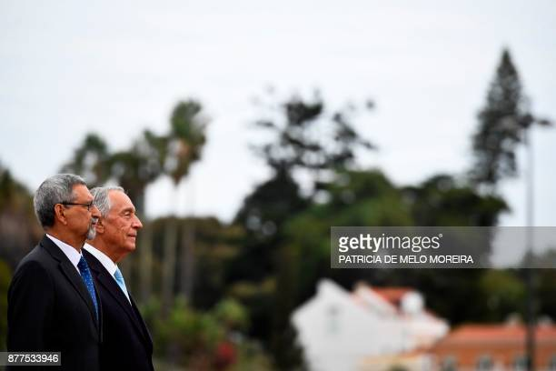 Portuguese President Marcelo Rebelo de Sousa and his Cape Verdean counterpart Jorge Carlos Fonseca listen to the national anthems during a visit to...