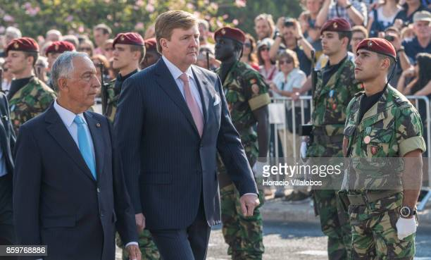 Portuguese President Marcelo Rebelo de Sousa and King WillemAlexander of The Netherlands review the Portuguese Armed Forces honor guard outside...