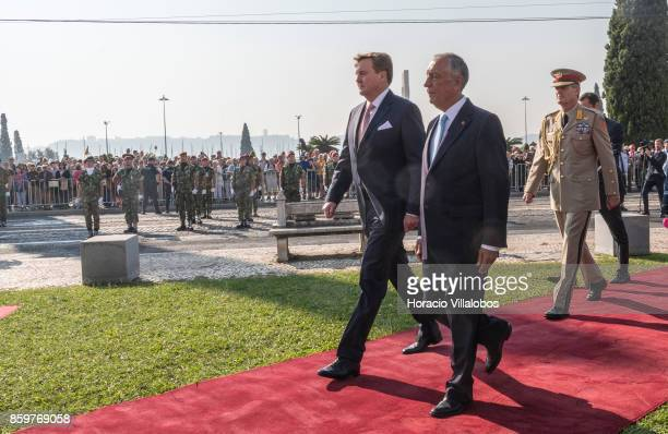 Portuguese President Marcelo Rebelo de Sousa and King WillemAlexander of The Netherlands after having reviewed the Portuguese Armed Forces honor...