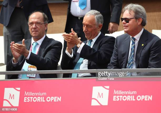 Portuguese President Marcelo Rebelo de Sousa and Mayor of Cascais Carlos Carreiras congratulate Nicolas Almagro and Guillermo GarciaLopez after the...