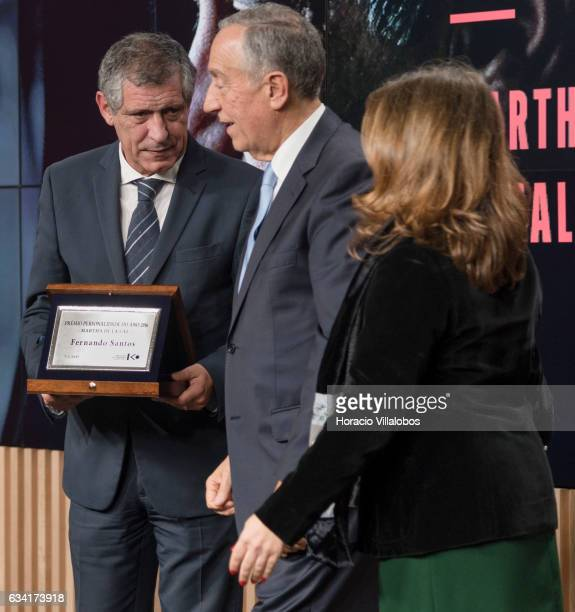 Portuguese President Marcelo Rebelo de Sousa and the president of the Foreign Press Association in Portugal Begona Iniguez after Portugal national...