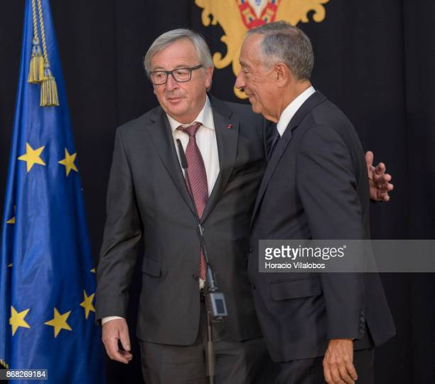 Portuguese President Marcelo Rebelo de Sousa and the President of the European Commission JeanClaude Juncker leave for their meeting after having...