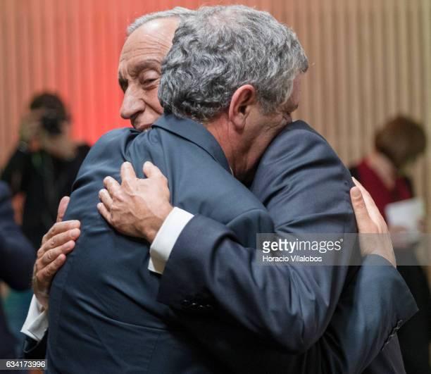 Portuguese President Marcelo Rebelo de Sousa embraces Portugal national soccer team coach Fernando Santos at the ceremony in which he gave Fernando...