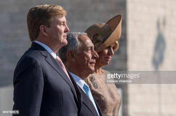 Portuguese President Marcelo Rebelo de Sousa King WillemAlexander of The Netherlands and Queen Maxima of The Netherlands listen to both countries...