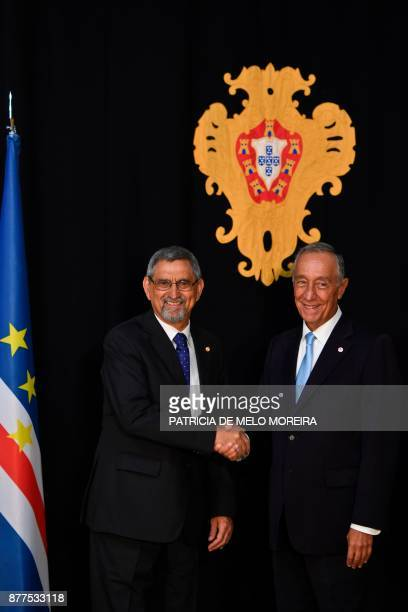 Portuguese President Marcelo Rebelo de Sousa shakes hands with his Cape Verdean counterpart Jorge Carlos Fonseca before their meeting at the Belem...