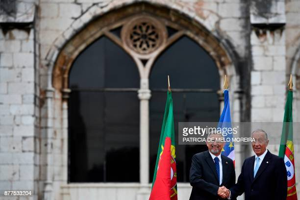 Portuguese President Marcelo Rebelo de Sousa shakes hands with his Cape Verdean counterpart Jorge Carlos Fonseca during a visit to the Jeronimos...
