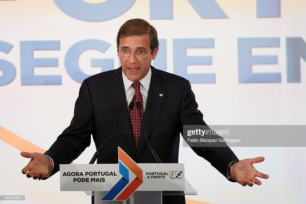 Portuguese Prime Minister and Social Democratic Party's leader <a gi-track='captionPersonalityLinkClicked' href=/galleries/search?phrase=Pedro+Passos+Coelho&family=editorial&specificpeople=6912340 ng-click='$event.stopPropagation()'>Pedro Passos Coelho</a> speaks in front of his supporters after winning the general elections at Sana Hotel on October 4, 2015 in Lisbon, Portugal. Portuguese Prime Minister and Social Democratic Party's leader <a gi-track='captionPersonalityLinkClicked' href=/galleries/search?phrase=Pedro+Passos+Coelho&family=editorial&specificpeople=6912340 ng-click='$event.stopPropagation()'>Pedro Passos Coelho</a>'s coalition won the general election, becoming the first prime minister to be re-elected among the five eurozone states. Since 2011, Coelho's government made some tough austerity measures.