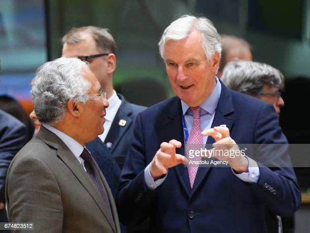 Portuguese Prime Minister Antonio Costa and European commission member in charge of Brexit negotiations with Britain French Michel Barnier speak...