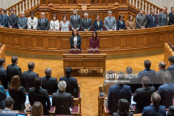 Portuguese Prime Minister Antonio Costa and his cabinet of ministers observes a moment of silence with members of Parliament in honor of the victims...