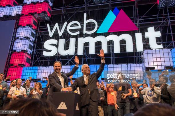 Portuguese Prime Minister Antonio Costa and Lisbon Mayor Fernando Medina push the button to officially inaugurate Web Summit 2017 in Altice Arena on...