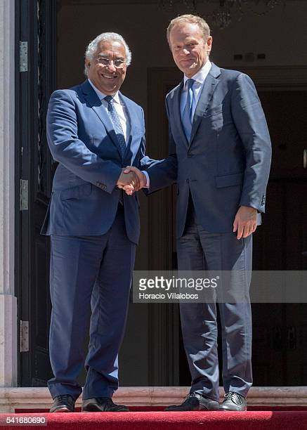Portuguese Prime Minister Antonio Costa greets the President of the European Council Donald Tusk on June 20 2016 in Lisbon Portugal Donald Tusk is in...