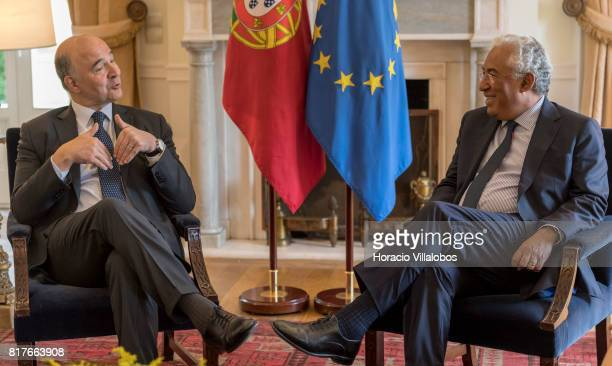 Portuguese Prime Minister Antonio Costa meets with European Commissioner for Economic and Financial Affairs Taxation and Customs Pierre Moscovici at...