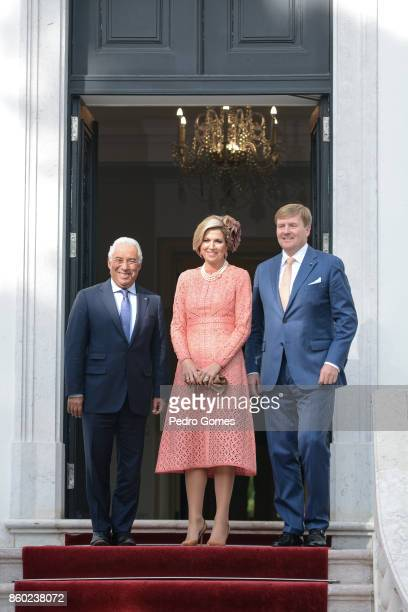 Portuguese Prime Minister Antonio Costa outside his official residence with Queen Maxima of The Netherlands and King WillemAlexander of The...