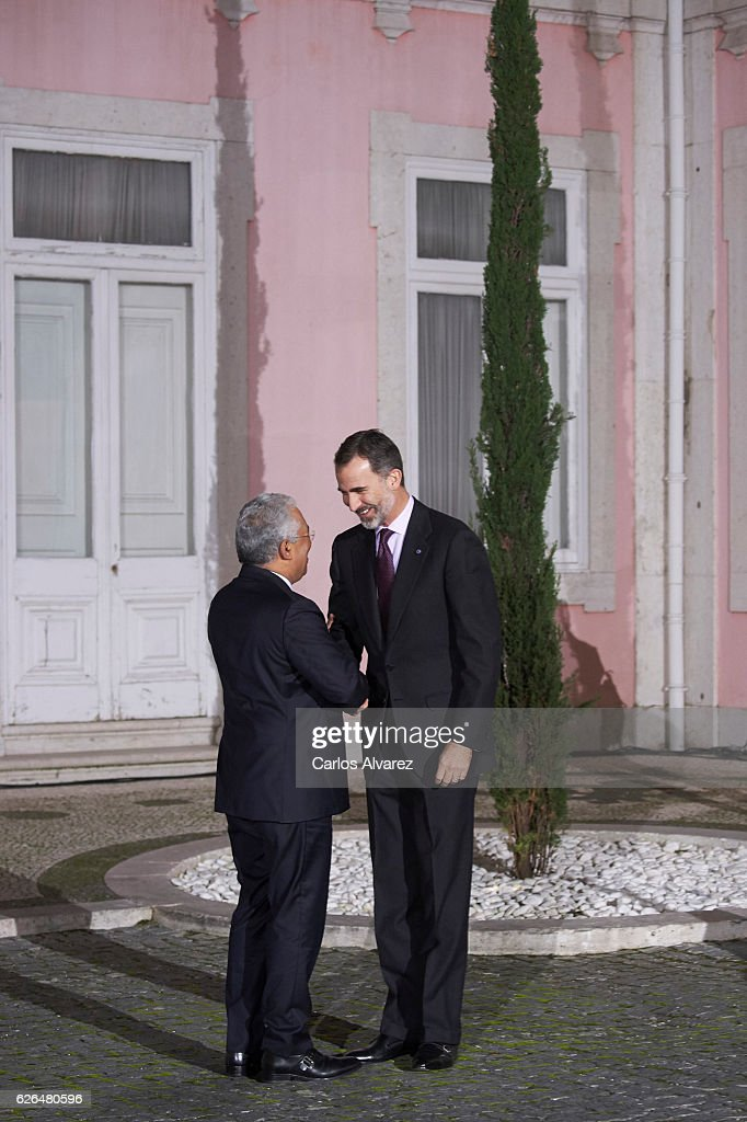 Portuguese Prime Minister Antonio Costa (L) receives King Felipe VI of Spain (R) for a Gala dinner at Palacio de las Necesidades during his official visit to Portugal on November 29, in Lisbon, Portugal