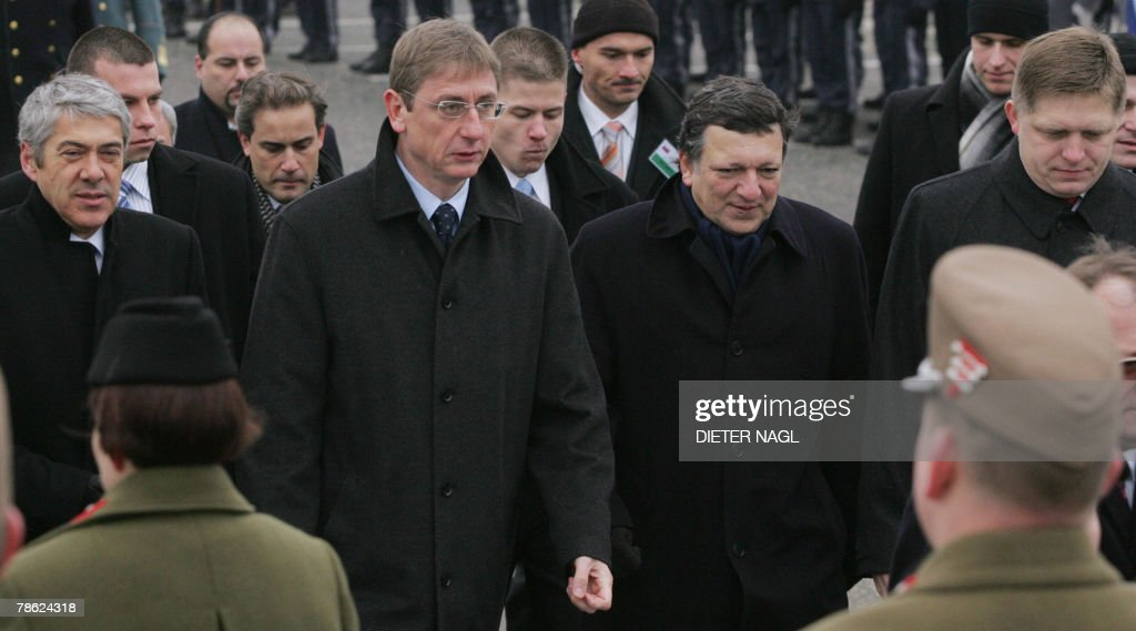 Portuguese Prime Minister Jose Socrates, Hungarian Prime Minister Ferenc Gyurcsany, European Commission President Jose Manuel Barroso and Slovakia's Prime Minister Robert Fico, attend a ceremony at Hegyeshalom, on the Austro-Hungarian border near Slovakia, 22 December 2007, to welcome nine mainly eastern European countries into the border-free Schengen zone. At midnight on Friday, nine new countries -- the Czech Republic, Estonia, Hungary, Latvia, Lithuania, Malta, Poland, Slovakia and Slovenia -- joined the 15 nations already in the border-free no-passport Schengen zone.