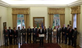 Portuguese Prime Minister Pedro Passos Coelho accompanied by his cabinet members makes a statement makes a statement at St Bento palace in Lisbon on...
