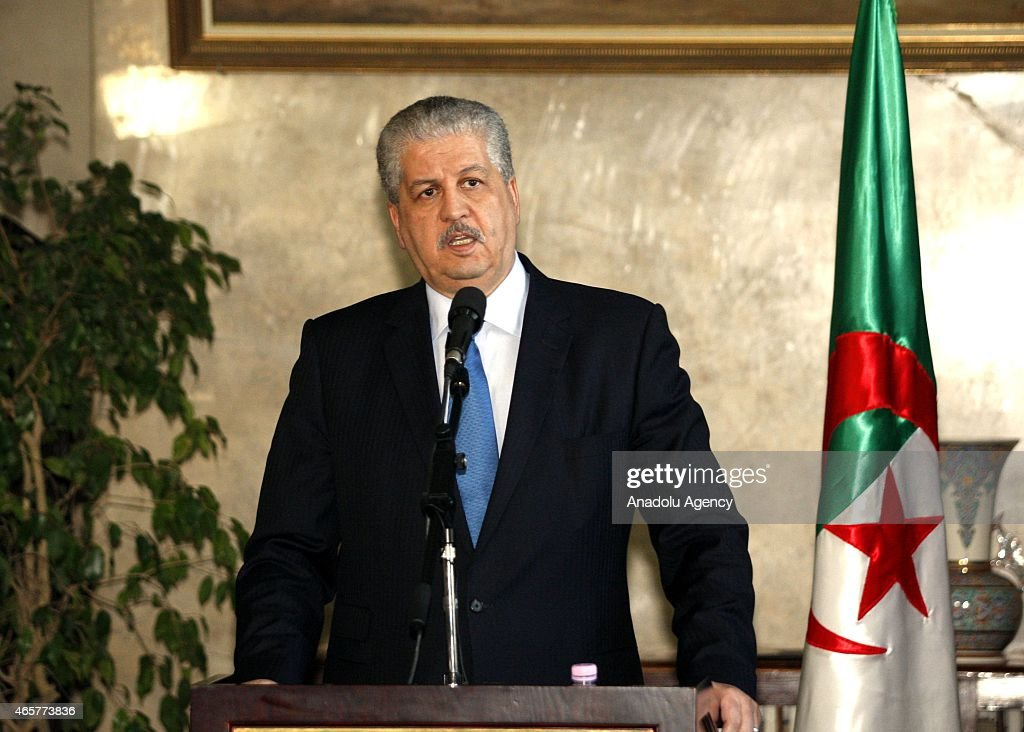 Portuguese Prime Minister Pedro Passos Coelho (not seen) and Algerian Prime Minister <a gi-track='captionPersonalityLinkClicked' href=/galleries/search?phrase=Abdelmalek+Sellal&family=editorial&specificpeople=3196882 ng-click='$event.stopPropagation()'>Abdelmalek Sellal</a> (C) hold a joint press conference within Coelho's official visit in Algiers, Algeria on March 10, 2015.