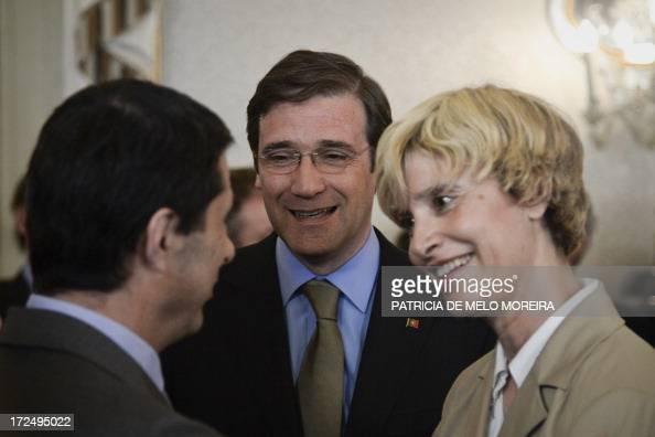 Portuguese Prime Minister Pedro Passos Coelho and the President of the portuguese parliament Assuncao Esteves great former Finance Minister Vitor...